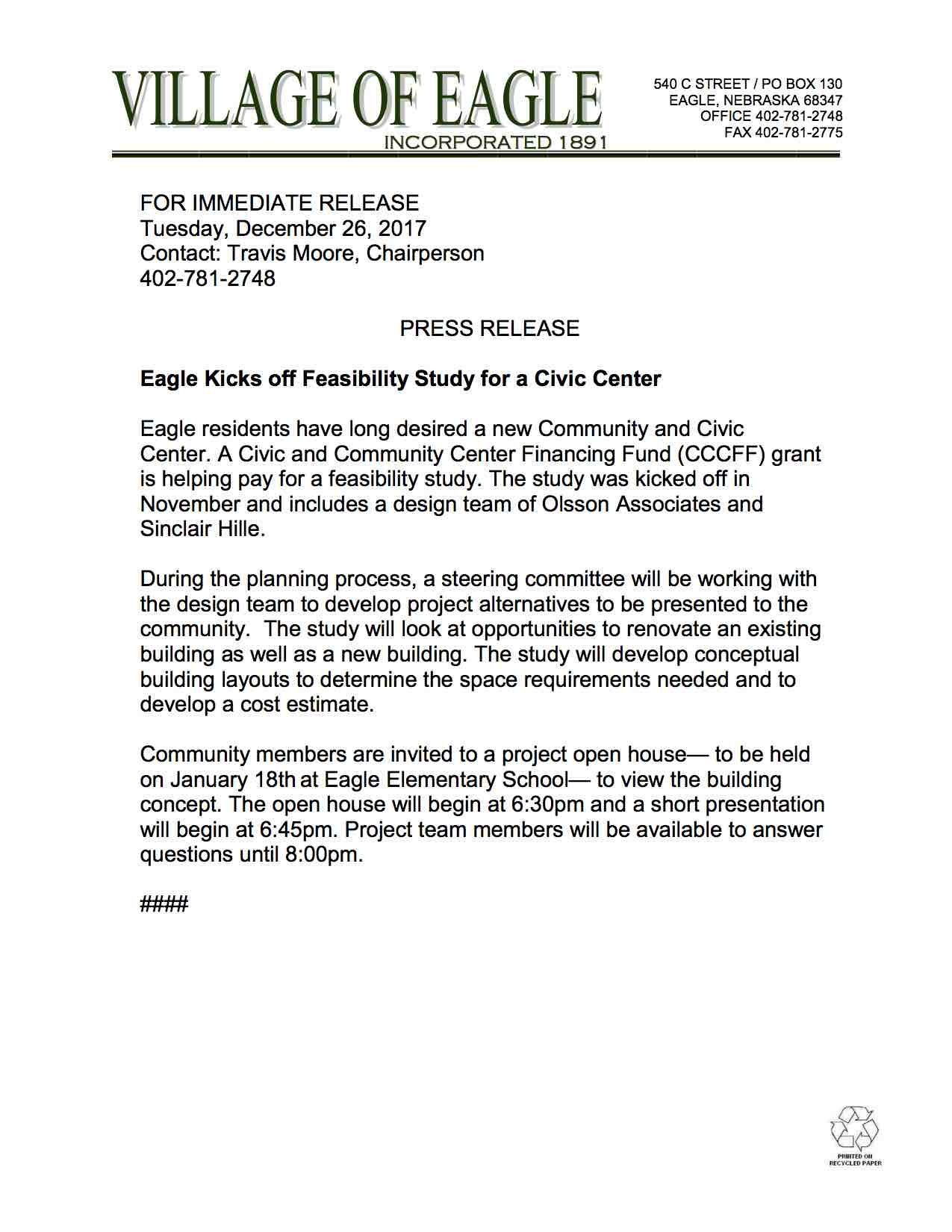Civic Center Feasibility Study Press Release