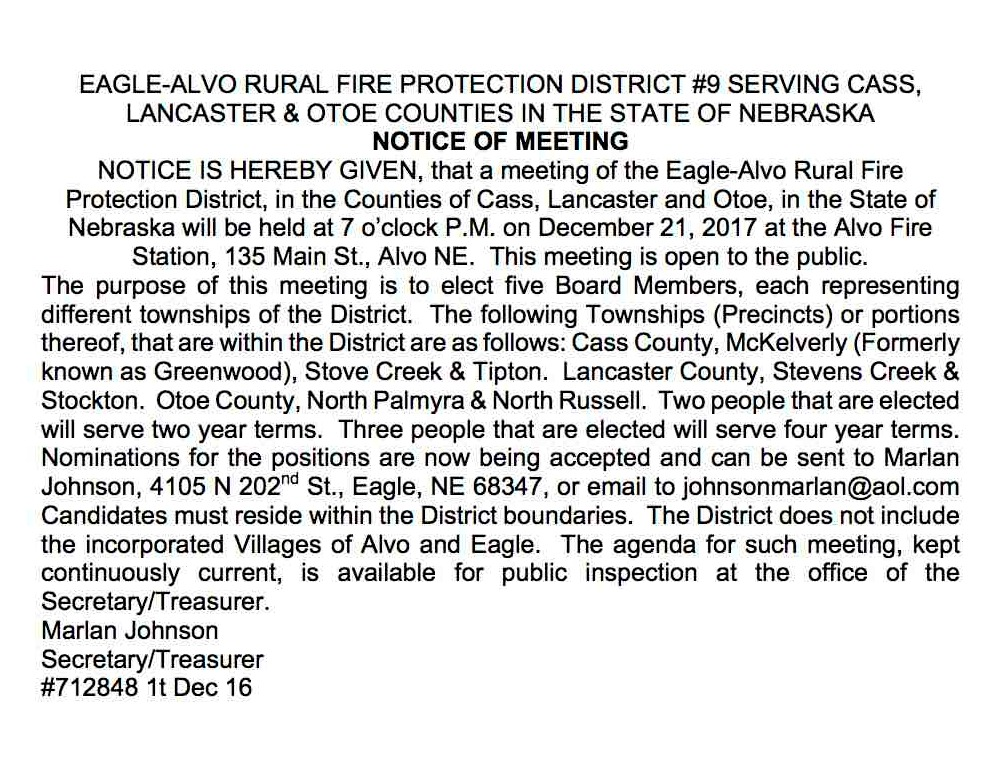 EAGLE ALVO RURAL FIRE NOTICE OF MEETING
