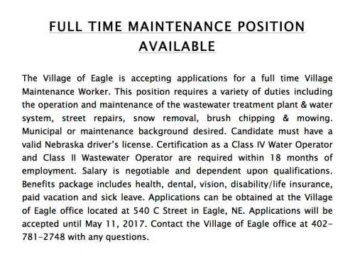 FULL TIME MAINTENANCE POSITION AVAILABLE 2017
