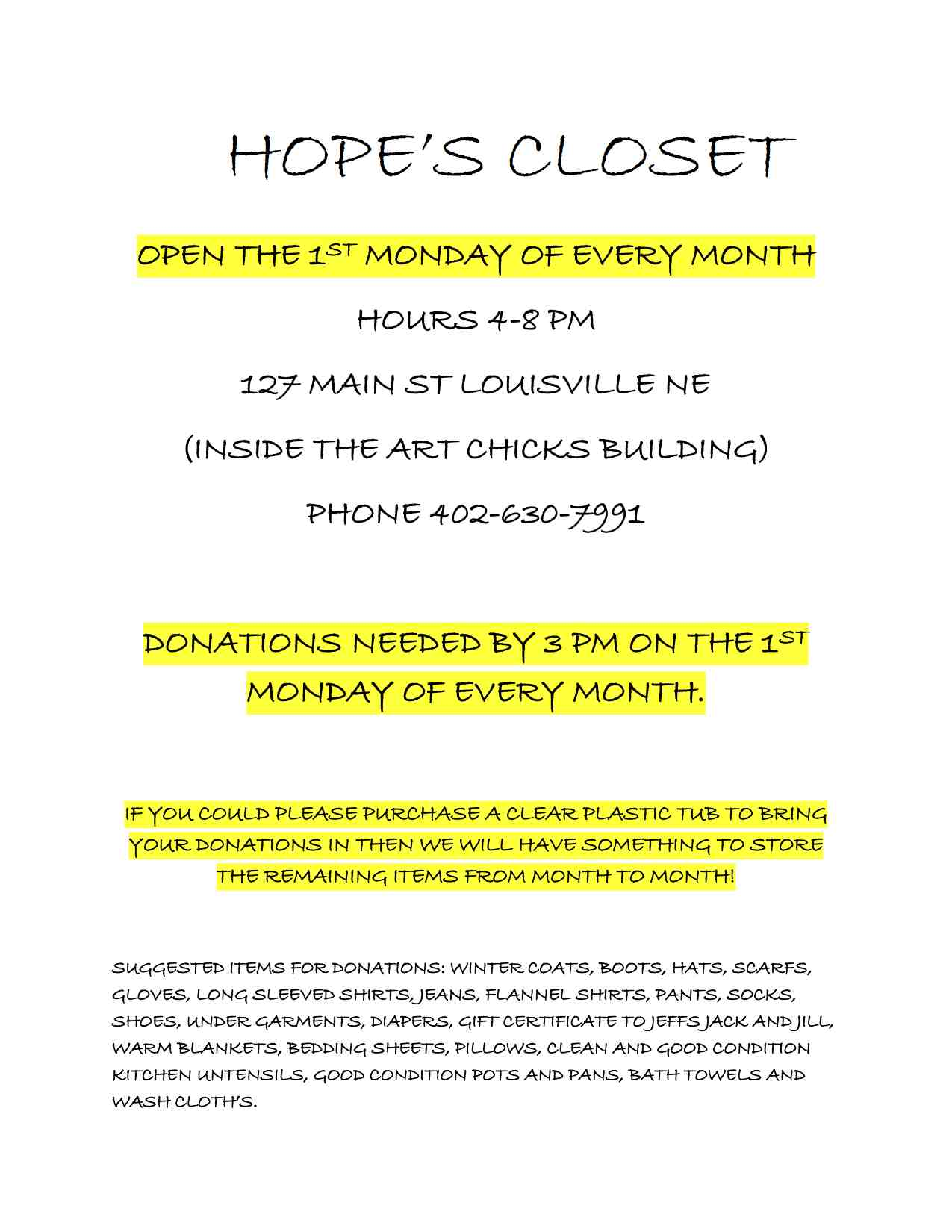 Flyer for Hopes Closet