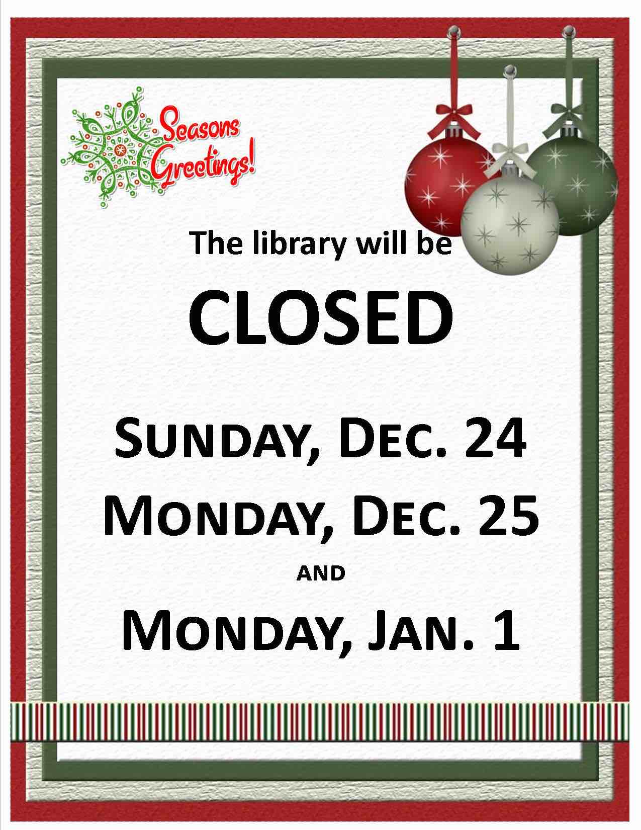 Library Closed 2017 2