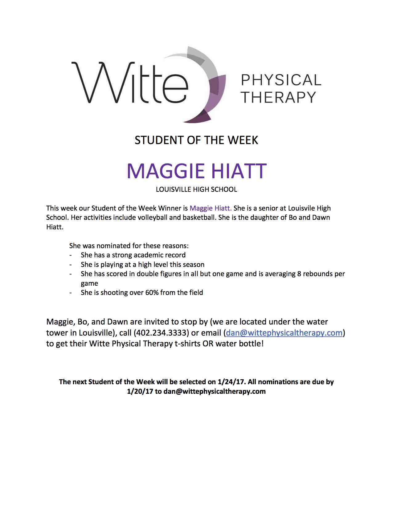 Student of the Week Selection 37