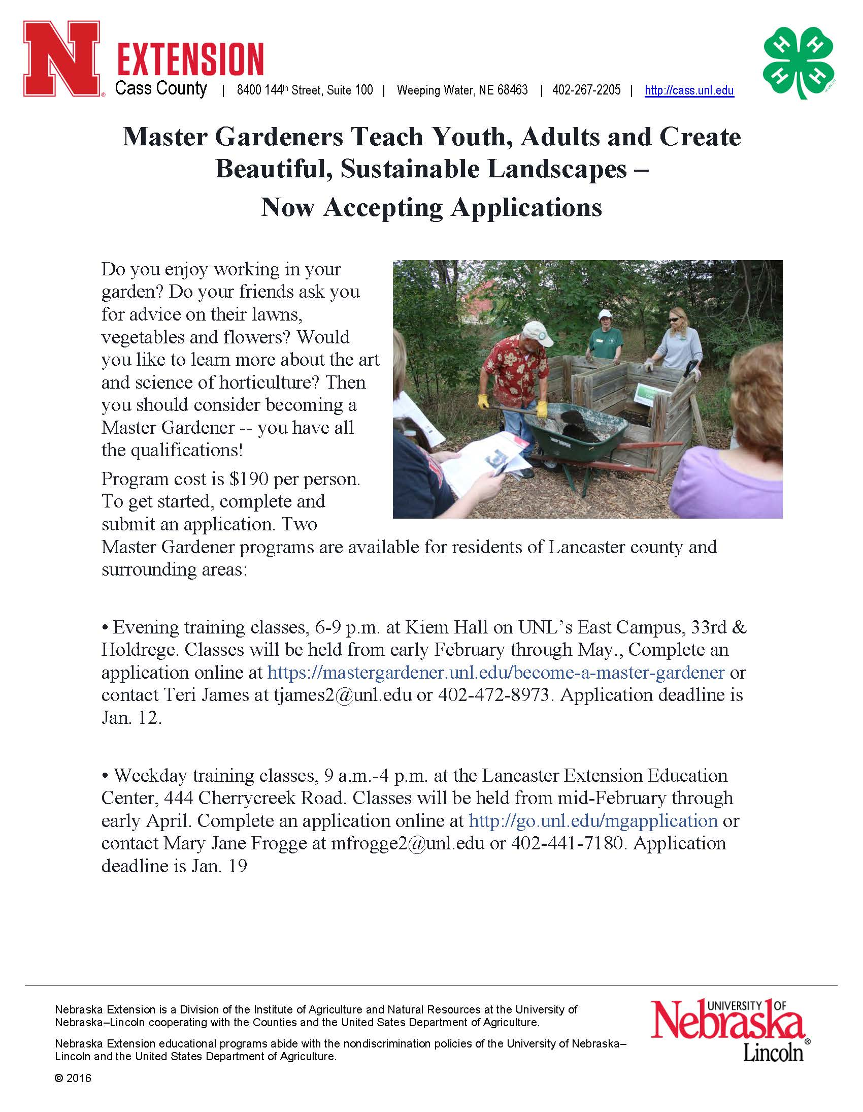 interested in master gardener 2018