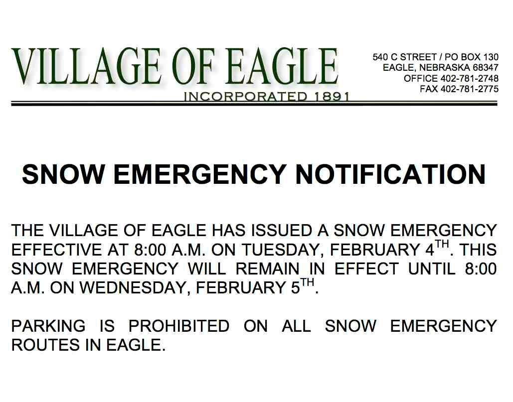 SNOW EMERGENCY FEB 4-5